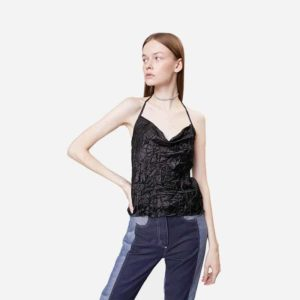 Top Neige Creased Tank Top Black
